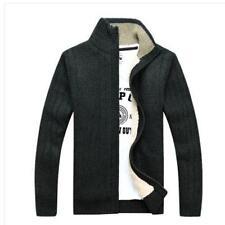 Hot Mens Cardigan Sweater Stand Collar Fleece Jacket Knitted Hoodie Winter Coat
