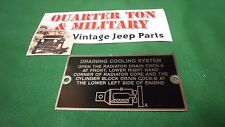 Dodge WC WWII Power wagon Engine Cooling data plate (P77)