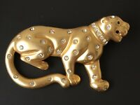 Vintage leopard  Brooch Pin in enamel & Gold Tone Metal With crystals .