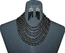 Cocktail Jewelry, Romantic Bijouterie, Necklace & Earrings Set, Color Black/Gold