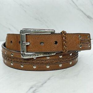 Michael Kors Brown Studded Genuine Leather Belt Size Large L 36