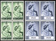 Fiji 1948 Silver Wedding Stamps Scott # 139 & 140 in Blocks of 4 MNH