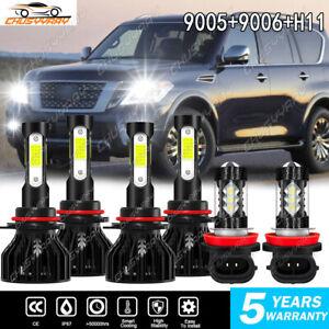 For Nissan Armada 2011-2014 2015 - 6x LED Headlight High Low Fog Light Bulbs BYG
