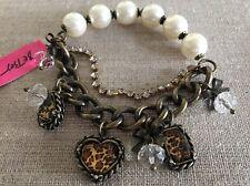 NWT 100% Betsey Johnson Leopard Heart Pearl Bracelet