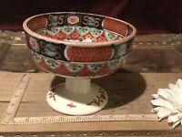 "Antique Vintage Asian Porcelain IMARI Footed Pedestal Hand Painted Bowl 6 1/8"""
