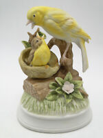 Gorham Gift World China Yellow Canaries Music Box 6 1/2in figure hand painted