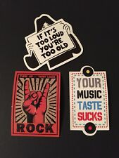 Music Stickers (3) Cool Loud Rock Music Guitar Case Laptop Luggage Decal
