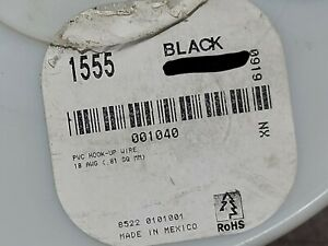Alpha Wire 1555 #18awg Tinned Copper Hook Up Wire 1kV 80C MIL-W-76B Black /100ft