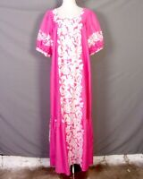 vtg 60s 70s Royal Hawaiian Creations Pink White Floral Mumu Dress Flare sz M