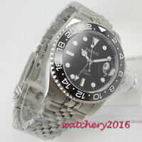 40mm PARNIS black dial jubilee strap Sapphire date GMT automatic mens watch