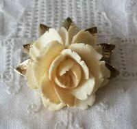 Vintage Signed Winard 12K Gold Filled Carved Rose Cream Retro Flower Brooch