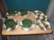 Four Vintage Green Pottery Coffee or Tea Cups and Seven Heather Plaid Saucers