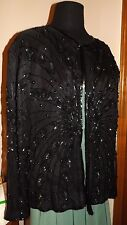 Black Beaded Sequin Silk Jacket L- 10 12  American Night fully lined