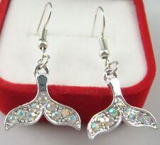 "Simple Drop Elegant Women Earring s7ss 925 Silver Plated Hook 2.6"" fish tail"
