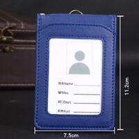 Leather Wallet Work Office ID Card Credit Card Badge Holder+Lanyard+5 Slots DJ8X