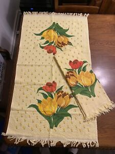 2 - Vintage Cannon Bath Towels Yellow Floral Tulip NOS 22x38 Made In USA