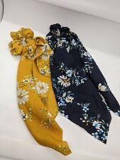 Satin Ponytail Scarf  Hair Rope Ties Scrunchies Ribbon Band Flower Navy Yellow