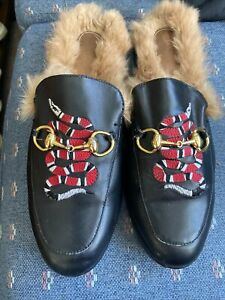Gucci Authentic Snake Embroidered Princetown Kangaroo Fur Loafer Slides 42