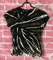 TRYST by Mathew Olive Black Tie Dye T-Shirt Short Sleeve Size Womens Size Small