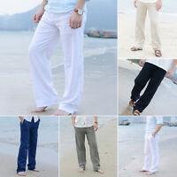 Fashion Men Cotton Linen Loose Pants Sand Beach Drawstring Long Slacks Trousers