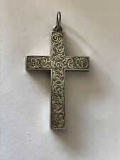 ANTIQUE VICTORIAN ENGRAVED SOLID STERLING SILVER CROSS PENDANT 1882