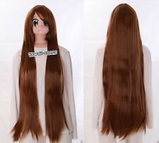 Y-10-30 Marron Brown 100cm lisse Hitzefest Cosplay perruque wig perruque Anime