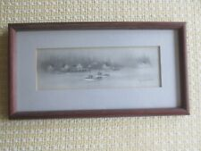 "Virginia Miller CABINS & BOATS on LAKE 12.75"" x 7"" Original SIGNED Lithograph"