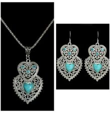 Turquoise Heart Necklace & Earring 2 Piece Set, Antique Silver Vintage Style