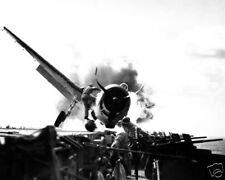 F6F HELLCAT CRASH LANDING ON USS ENTERPRISE 8X10 PHOTO