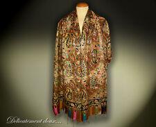 Superbe Châle 100% laine, motif cachemire brodé - CH67