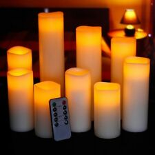 Flameless Candle Set Pillar 9 Flicker Remote Control Lighting Faux Fireplace LED
