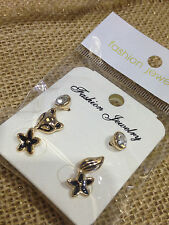 WHOLESALE LOT 6 NEW FOX & TAIL + FLOWER + CZ STUDS GOLD (18) EARRINGS CUTE GIFTS