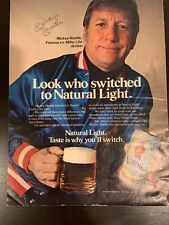 Vintage 1980 MICKEY MANTLE Natural Light Beer Sign Poster  Ad MLB YANKEES Clean