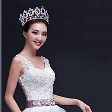 """6.7"""" Wide Large Sapphire Blue Crystal Gold King Crown Wedding Prom Party Pageant"""