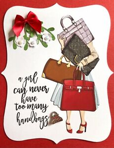 Handmade By Susie Lady Handbag Quote Flowers Charm Card Topper FLAT RATE UK P&P