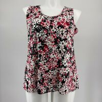 J Jill Wearever Collection Top Sleeveless Floral Tank Pink Knit Stretch Size 1X