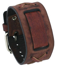 Nemesis BFXB Faded Brown X Criss Cross Wide Leather Cuff Watch Wrist Band