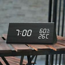 Digital Alarm Clock with Wooden Electronic LED Time Display, 3 Alarm Settings