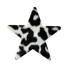 ID 9064 Fuzzy Cheetah Print Star Patch Craft Shape Symbol Felt Iron On Applique