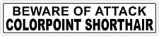 *Aluminum* Beware Of Attack Colorpoint Shorthair 4x18 Funny Metal Novelty Sign