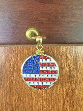 14K SOLID GOLD BEZEL w/ CRYSTAL AMERICAN FLAG SETTING & FREE GF CHAIN