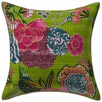 "Vinatge Kantha Pillowcase Indian Decorative Green Cushion Cover 40 x 40 cm 16"""
