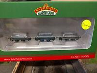 Bachmann Narrow Gauge 393-075 Set of three 4 wheel slate wagons with loads grey