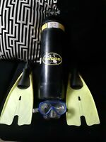 Dacor Scuba Dive Tank Luxfer Yellow 3000 PSI S80 ***PLUS GOGGLES AND FLIPPERS***