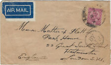 AIRMAIL : 1929 INDIA-- Airmail from India to London-BY AIR cachet