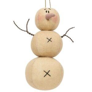 Primitive Fabric Snowman Ornament