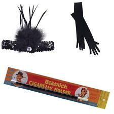 Ladies 1920's Flapper 3pc Set Charleston Gatsby Fancy Dress Costume Accessories