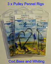 Sea Fishing Rig , 2 Hook Pulley Rig (Pennel) 3/0 + 3/0 Bass & Cod rig x 15 Packs