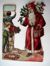 Vintage Die Cut of Two Young Boys Taking A Picture of Santa w/Vintage Camera(N)*