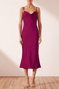 Shona Joy Cowl Neck Slip Midi Dress 10